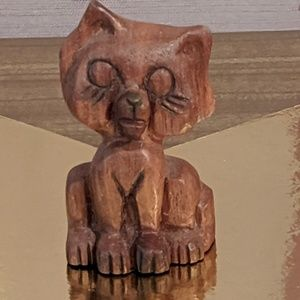 Hand carved cat wooden cat figurine